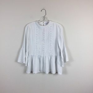 White Kensie Bell Sleeve Embroidered Top Small